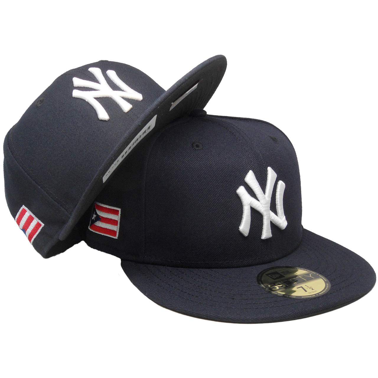 super popular d6fbb 8243b New York Yankees New Era 59Fifty Custom PR Flag Fitted Hat - Navy, White -  ECapsUnlimited.com