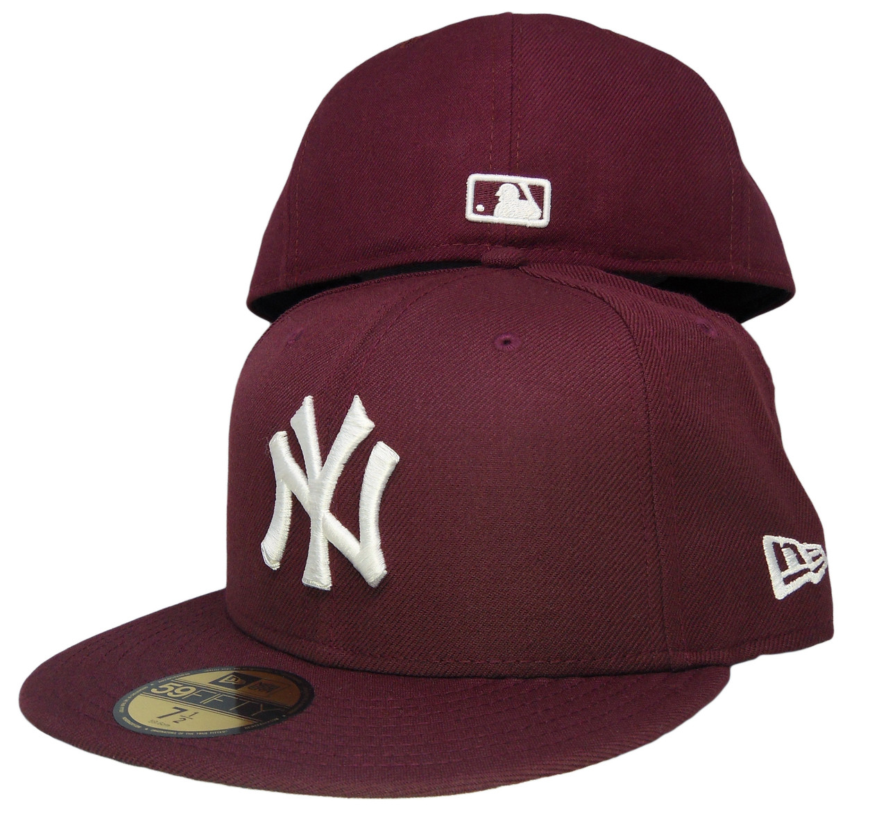 97815bbc3 New York Yankees New Era 59Fifty Basic Fitted Hat - Maroon, White -  ECapsUnlimited.com