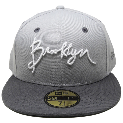 3fbaa12c ... Script Brooklyn New Era Custom 59Fifty Fitted Hat - Gray, Graphite,  White ...