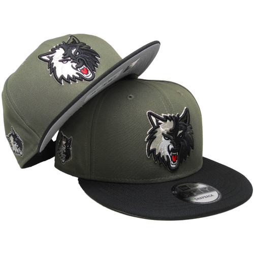 1a32ec34e048e3 ... Minnesota Timberwolves New Era Custom 9Fifty Snapback - Olive, Black,  Silver