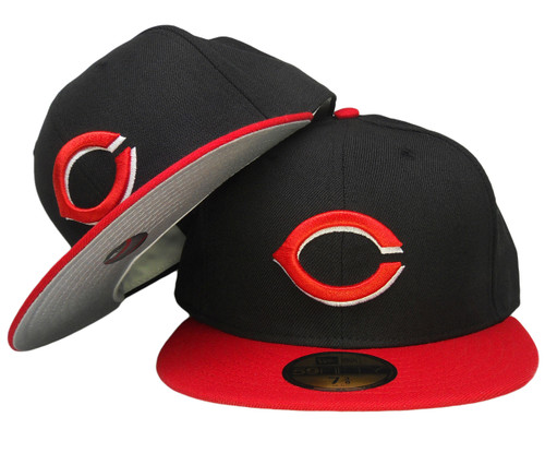 ddc0304138705 ... Cincinnati Reds New Era Gray bottom 59Fifty Fitted Hat - Black, Red ...