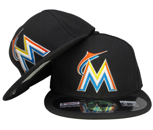9eb3b977 ... Miami Marlins New Era Home Onfield Fitted Hat - Black, Orange, Blue,  Yellow ...