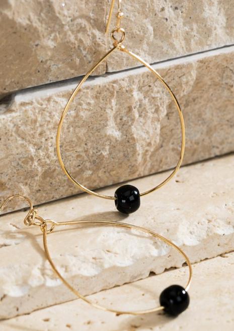 Open Teardrop Earring w/ Natural Stone