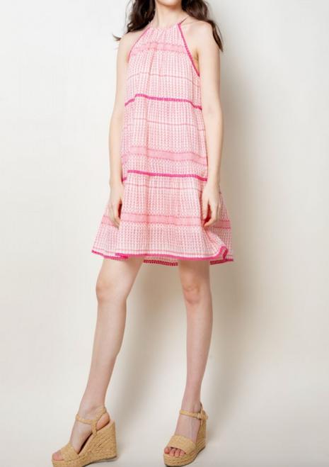 Pink Tiered Halter Dress THML