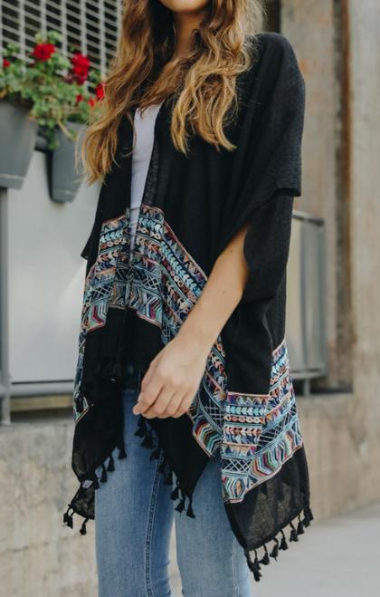 Embroidered Tassel Kimono