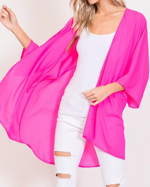 Plus Lightweight Solid Color Kimono