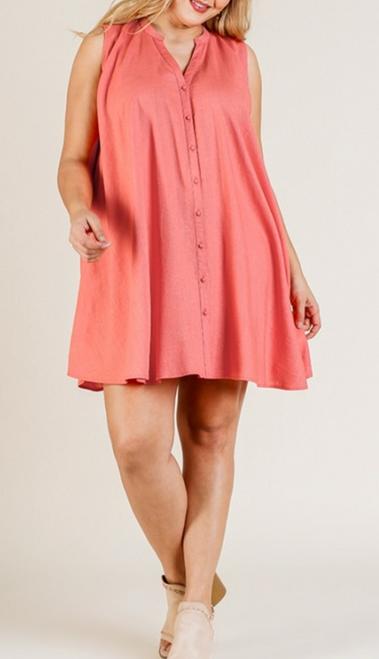 Plus Sleeveless Split Neck Button Front Dress