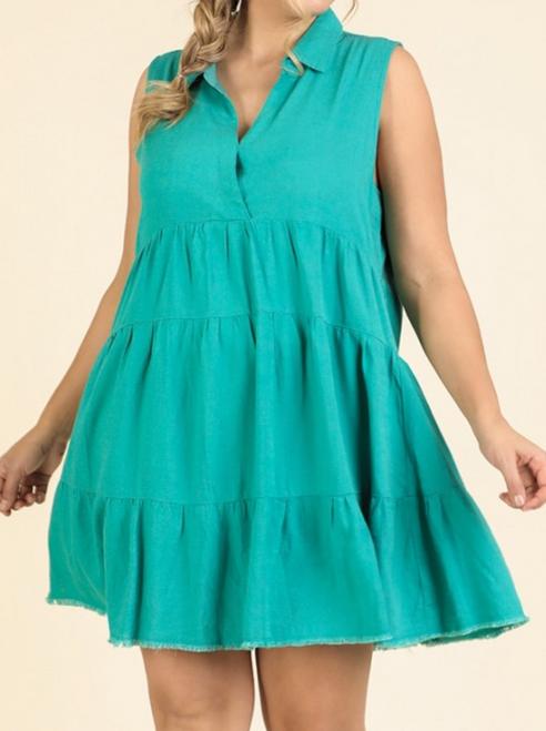 Plus Sleeveless Collared Ruffle Dress