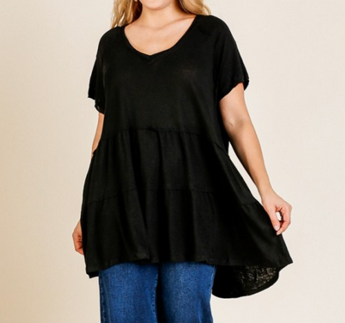 Plus Slub Knit V-Neck Ruffle Hem Tunic- Black