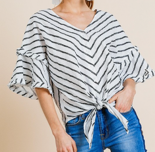 Plus Bell Ruffle Sleeve Striped V-Neck Top
