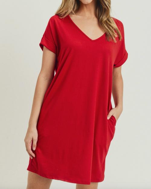 Red Boxy Dress w/ Pockets