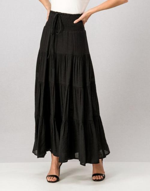 Black Gauze Linen Tiered Maxi Skirt