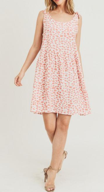 Polka Dot Shoulder Tie Baby Doll Dress