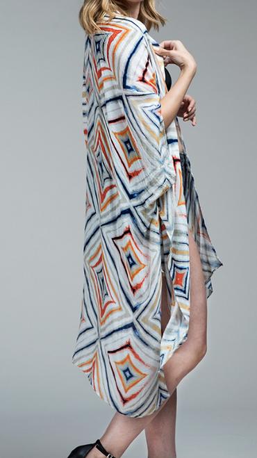 Watercolor Geometric Kimono
