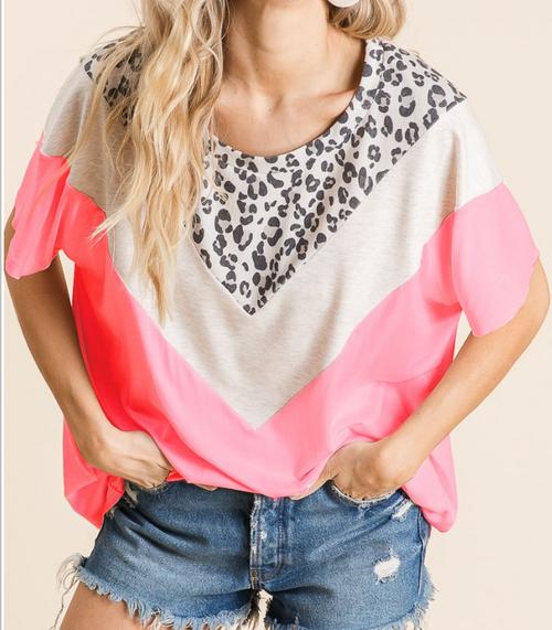 Neon Pink & Leopard Color Block Top