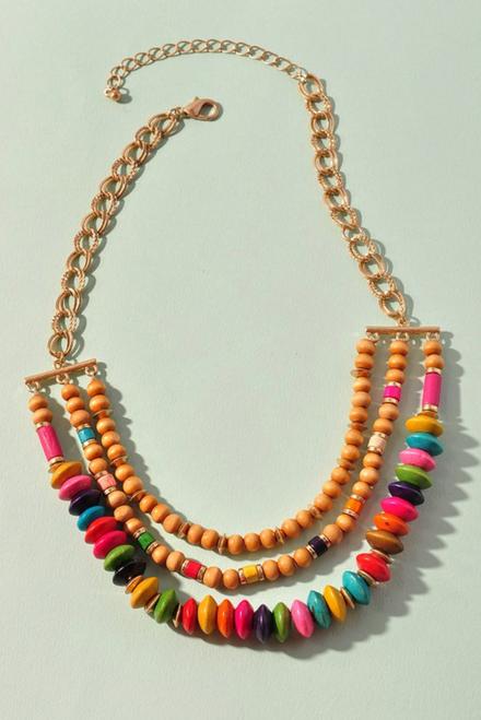 Three Layer Wood Bead Necklace