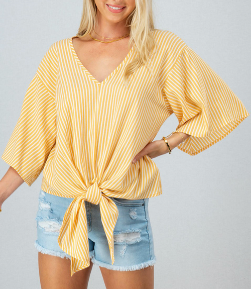 Stripe Yellow Off The Shoulder Top