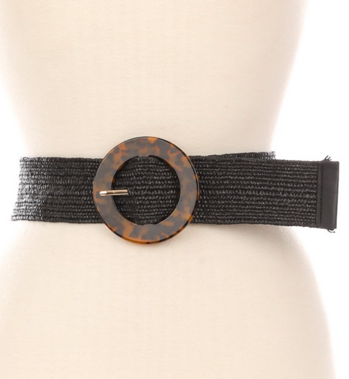 Acetate Buckle Black Braided Belt
