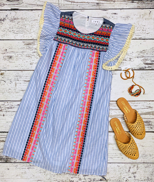 THML Stripe Embroidered Dress