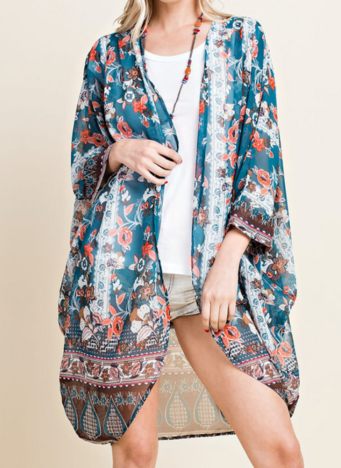 Forest Green Floral Print Kimono
