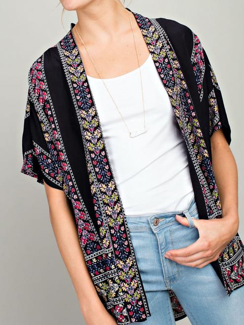Black Border Print Kimono