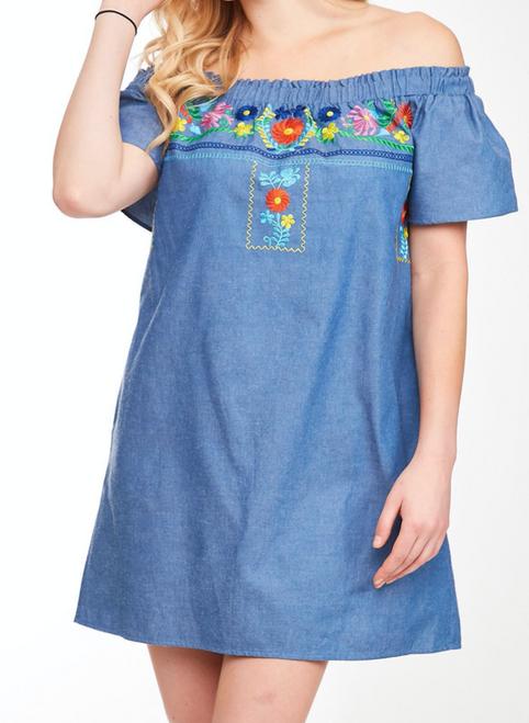 Embroidered Off The Shoulder Denim Dress