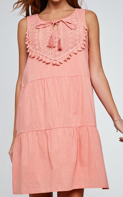 Front Tassel Trim Short Dress