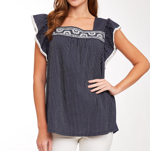 Embroidered Ruffle Striped Top