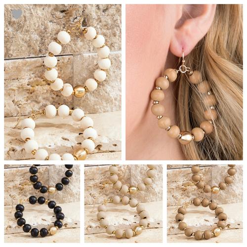 Wood & Metal Bead Earrings