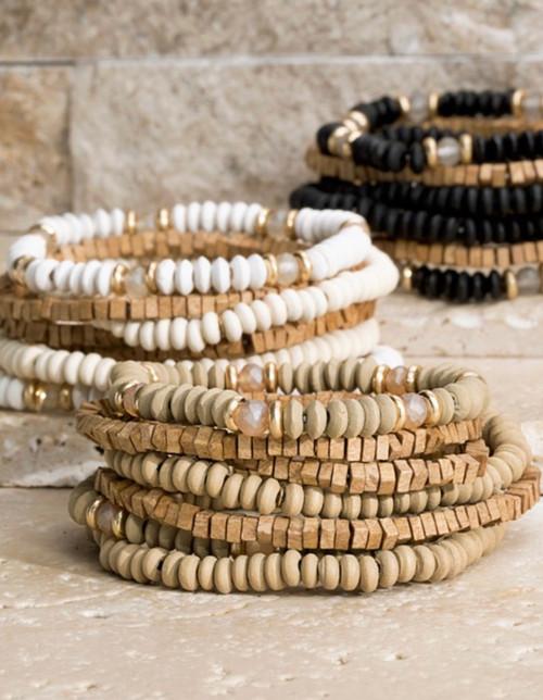 Wood and Glass Bead Bracelet Set