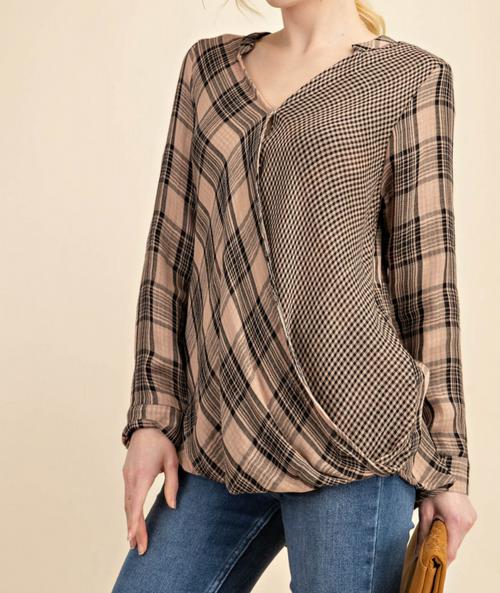 Taupe & Black Drapery Shirt Top