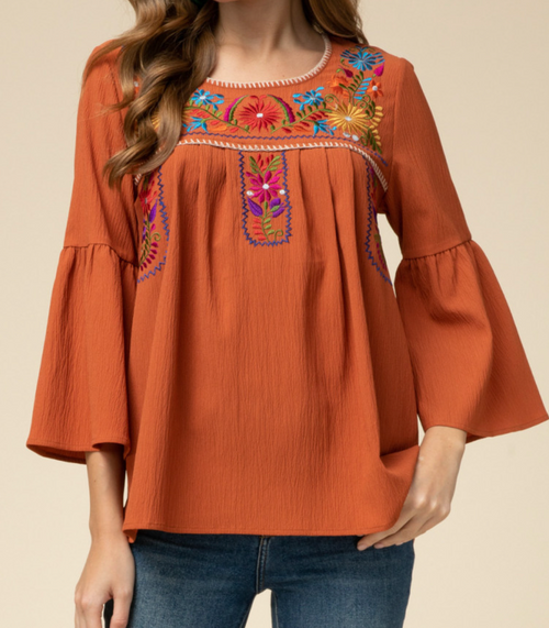 Rust Scoop Neck Top w/ Embroidery