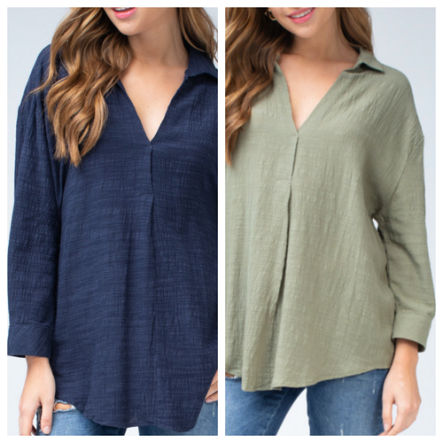 Collared V Neck Top w/ Button Detail On Sleeve