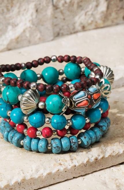 Multi Strand Mixed Bead Bracelet Set