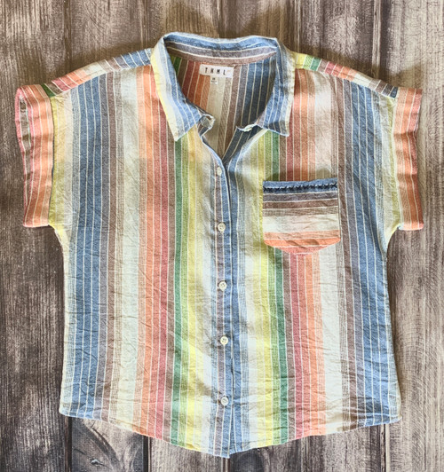 THML Striped Button Down Cotton Top