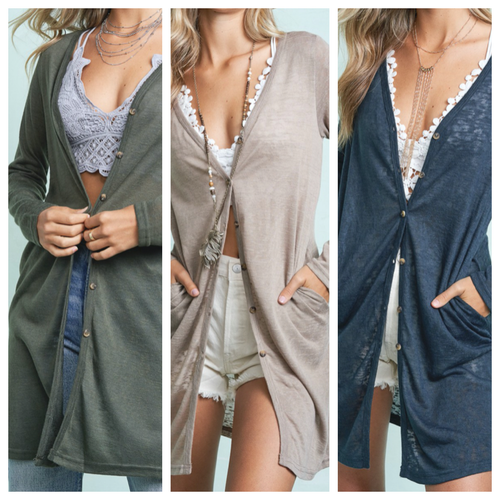 V Neck Button Down Long Sleeve Cardigan