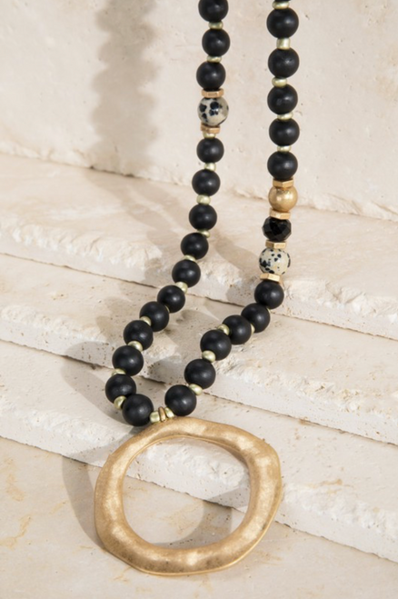 Wood Beaded Necklace w/ Hammered Metal Ring
