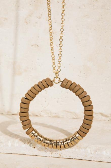 Wood & Satin Metal Bead Necklace