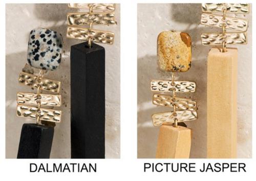 Wood and Stone Dangle Earrings