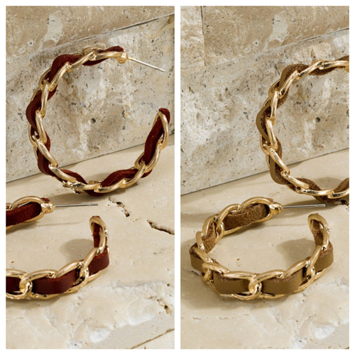 Chain and Faux Leather Hoop Earring