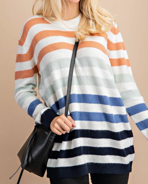 Round Neck Multicolor Striped Sweater