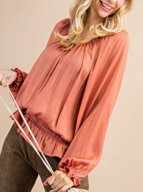 Rosewood Shirring Soft Long Sleeve Top