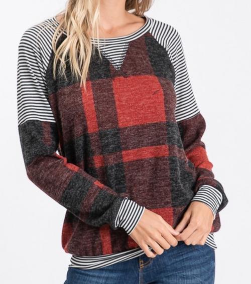Stripe and Plaid Mix Shirt