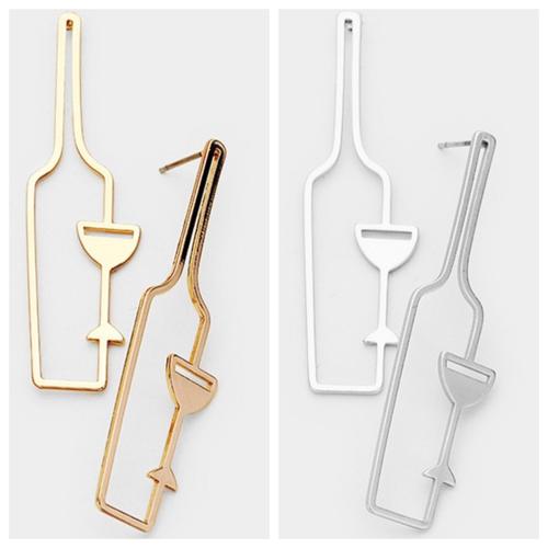 Wine Bottle Glass Cut Out Metal Earrings