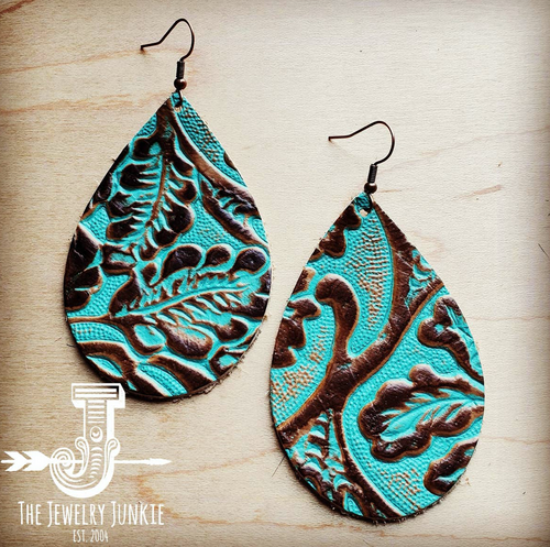 Leather Teardrop Earrings in Cowboy Turquoise