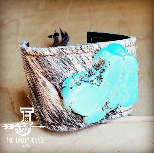 Leather Cuff w/ Tie-Gray Hair on Hide w/ Turquoise Slab