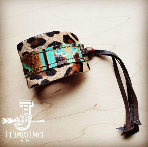 Leather Cuff with Tie - Turquoise Navajo and Leopard