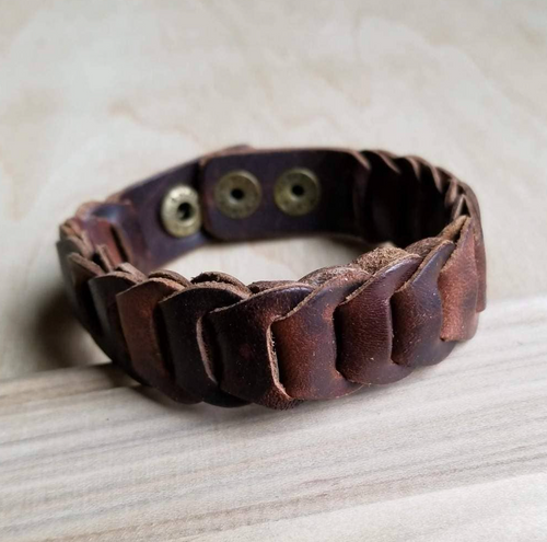 Woven Vintage Narrow Leather Cuff