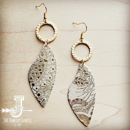 Leather Accent Earrings in Gold and White Paisley