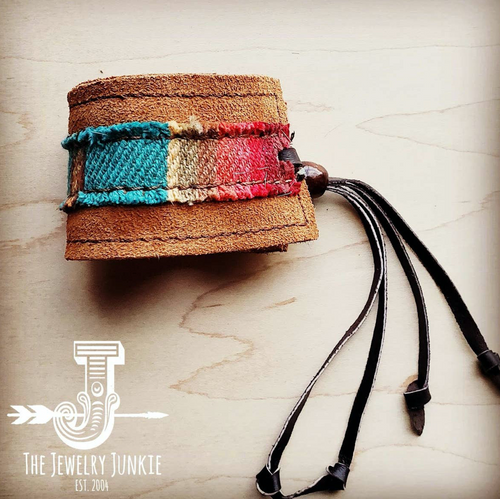 Leather Cuff with Tie - Brown Suede and Turquoise Serape
